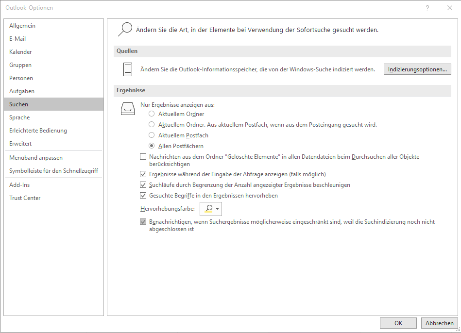 Die Suchoptionen in Outlook