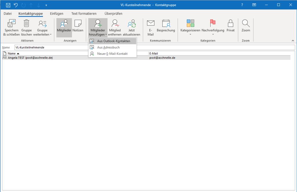 Kontaktgruppe mit Adresse aus den eigenen Outlook-Kontakten