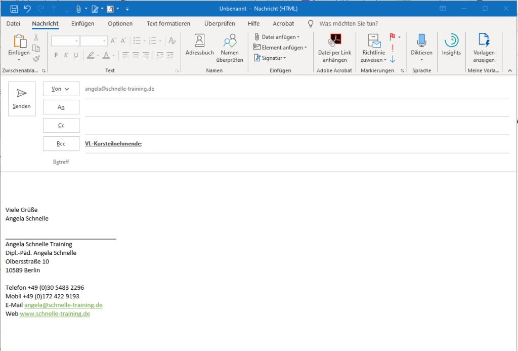 Nutzung einer Kontaktgruppe im BCC-Feld einer E-Mail