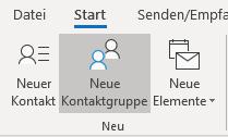 Neue Kontaktgruppe aus dem Outlook-Modul Personen